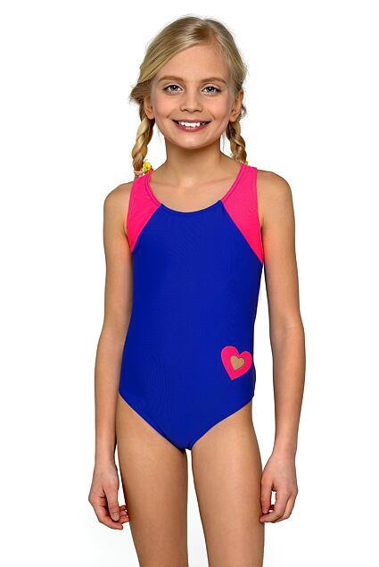 Dziewczęcy jednoczęściowy strój kąpielowy Eliska niebiesko-różowy