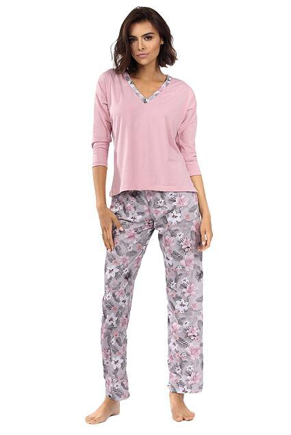 Piżama damska Delisa jasnoróżowa w kwiaty