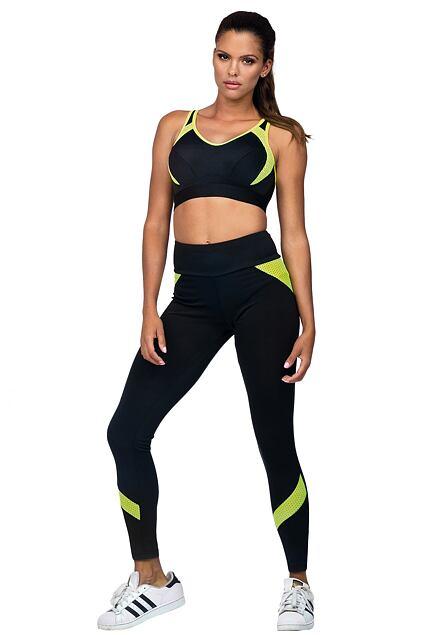 Legginsy fitness Suzanne czarne z żółtymi neonowymi elementami