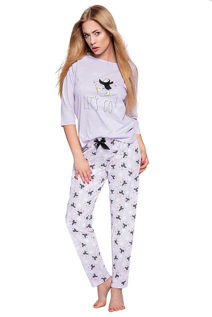 Piżama damska Ellie jasnofioletowa z pingwinami