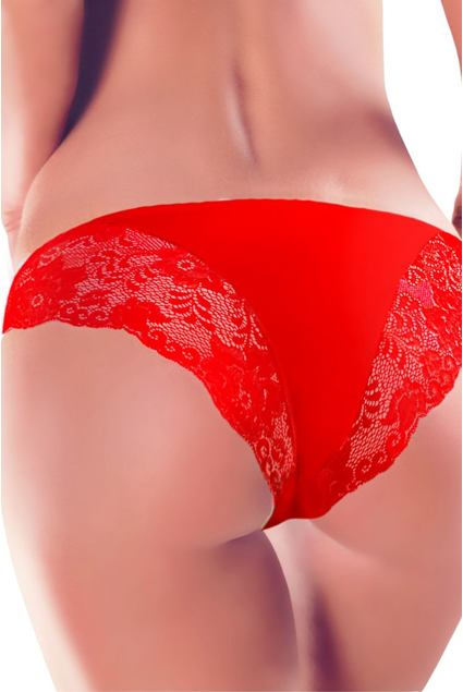 Figi z koronką 65 czerwone