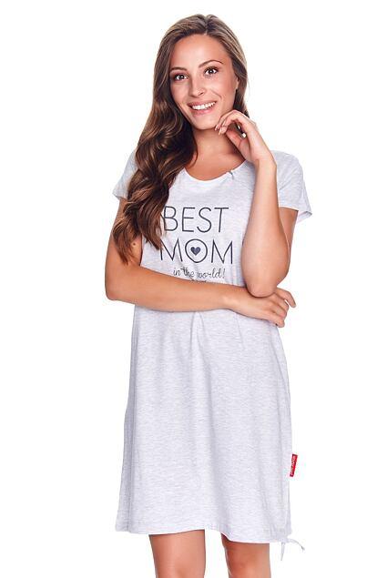 Koszula nocna ciążowa Best mom w szarym kolorze