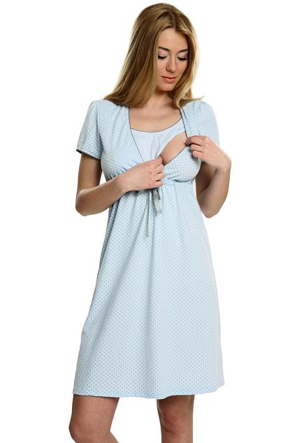Bavlněná těhotenská a kojící noční košile Felicita modrá