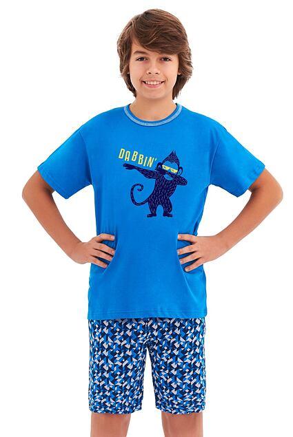 Piżama chłopięca Damian niebieska małpka