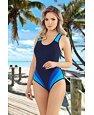 Jednoczęściowy strój kąpielowy Aneta niebieski w paski